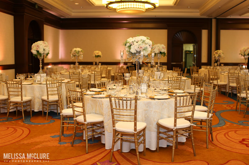 Blush and gold reception at La Costa Resort. Photo by Melissa McClure Photography